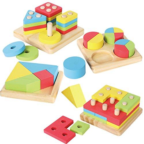 Joyin Toy 4 in 1 Wooden Educational Shape Color Sorting ...